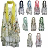 Italian Womens Ladies Butterfly Floral Lagenlook Lace Baggy Oversize Scarf Dress
