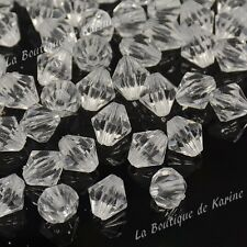 LOT DE 50 PERLES TOUPIES RESINE TRANSPARENTE Ø 8 mm CREATION BIJOUX