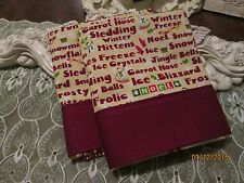 COUNTRY COTTAGE KIDS SET OF TWO CHRISTMAS WORDS SNOWMEN MITTENS PILLOWCASES-NEW