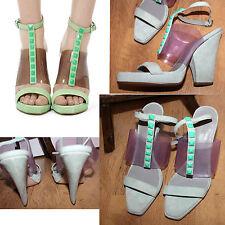 Reiss Lelia Mint Green Suede Pyramid Stud Platform Sandals size 40 RRP £169