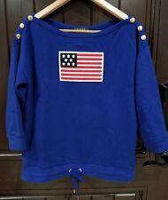 Lauren Ralph Lauren Patriotic American Flag Top Sweater Blouse Blue Women Small