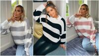 UK LADIES WOMENS CHUNKY KNITTED STRIPED CASUAL BAGGY WINTER OVERSIZED JUMPER TOP