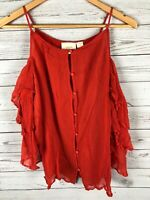 Anthropologie Maeve Ruffle Tiered Cold Shoulder Button Front Top Blouse Large L