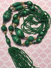 "VTG Czech Venetian Wedding Cake Jade Green Foil Bead Sautoir 58"" Necklace-Estate"