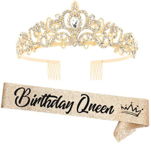 """""""Birthday Queen""""Sash and Rhinestone Crown Set - Glitter Gold Fabric with Black F"""