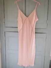 """NEW M&S Vintage Style ROSIE PINK Deep V Neck Full Long Slip 23"""" UK 16 EUR 44"""