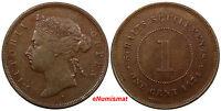 Straits Settlements Victoria Copper 1874 H 1 Cent Choice VF Condition KM# 9