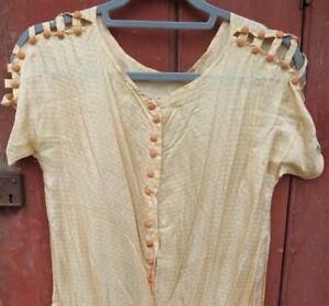 antique vintage silk 1920s drop waist flapper dress 100% silk peach fancy top
