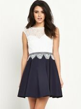 Lipsy Hush Violet Lace Skater Dress, Navy, Size 16, New With Tags