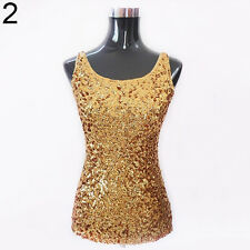 Women's Summer Tank Top Shining Bling Sequined Sleeveless Vest Perfect Blouse