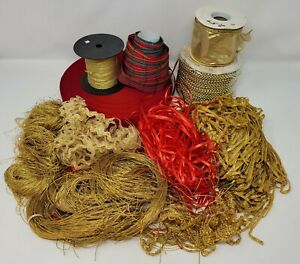 Huge Lot of Red & Gold Christmas Craft Supplies Ribbons, Trims, Beaded Garland