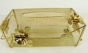 Vintage Brass Kleenex Tissue Box Cover Hollywood Regency Flowers Filigree Pearls