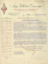 Lettera Autografo Vittorio Orsenigo Lamiera Stirata Milano e Fagnano Olona 1926