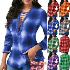 Women Casual Slim Long Sleeve V Neck T Shirt Floral Tops Loose Commute Blouse