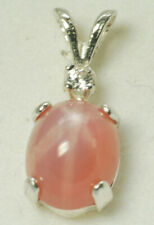Sterling Silver, Salmon Pink LINDE STAR SAPPHIRE, ACCENTED  PENDANT