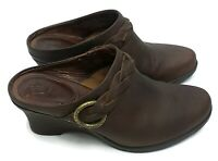 ARIAT Women's Wedge Mules Clogs Brown Oiled Leather w/ Braid Detail Size 8.5 B