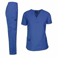 Dagacci Medical Uniform Woman and Man Scrub Set Unisex, Royal Blue, Size Medium