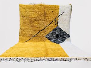 Yellow Moroccan Rugs - Handmade Beni Ourain Style - berber area rug