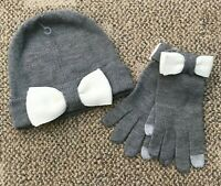 Kate Spade Womens Beanie Hat & Glove Set Heather Grey/Cream One Size