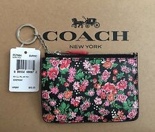 NWT Coach Key Pouch Gusset Posey Cluster Floral Print Canvas F57984 Coin Wallet