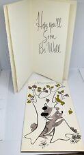 """Vintage Greeting Card New Unused Get Well Soon Humorous Hibernating Foil 7x4"""""""