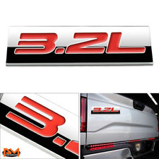 """3.2L"" Polished Metal 3D Decal Red Emblem Exterior Sticker For Ford/Jeep/Volvo"