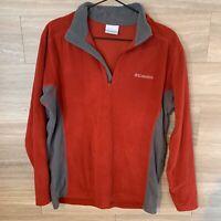 Columbia Fleece Jacket Mens S Red/Gray 1/4 Zip