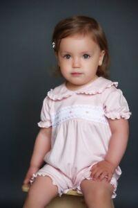 NWT Dakomoda Baby Girls' 100% Organic Pima Cotton Romper Smocked Easter Pink 3-6