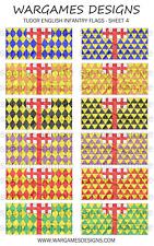 Bandiere 10 mm-FANTERIA INGLESE TUDOR-FOGLIO 4-LUCCIO & SHOTTE, Barocco, DBR