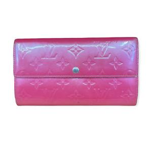 LV3203 LOUIS VUITTON Vernis Monogram Leather Sarah Long Envelope Wallet Pink