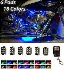 LED Motorcycle Accent Frame Glow Light Kit 6 Pods Million Color with Remote
