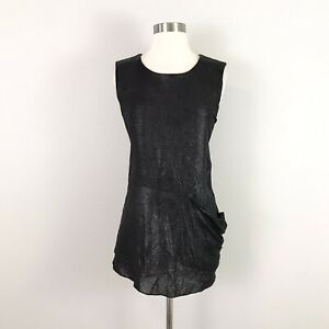 Nicole Miller small Blouse Top Tunic Black Silk Leather