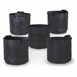 Plants Grow Bags 5 x 1-100 Gallon Aeration Fabric Pots Handles Black Garden Grow