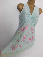 FUNKYFIT ● size 12 14 ● mint green pink halterneck blouse vest top womens ladies