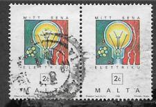 Malta CONMEMORATIVA utilizado par de estampillas postales 1995-Bombilla de electricidad