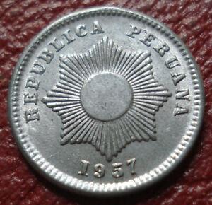 1957 PERU 1 CENTAVO IN AU CONDITION