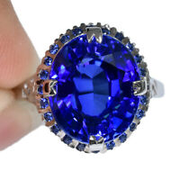 ROYAL BLUE SAPPHIRE OVAL RING SILVER 925 HEATING 9.40 CT 13X11 MM. SIZE 6.75