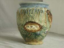 Weller Glendale Vase Bird w/ Nest & Eggs, Great Colors, Marked Wellerware