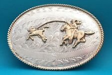 VTG Very Rare 925 STERLING SILVER Jalisco CALF ROPING Western Cowboy BELT BUCKLE
