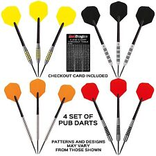 RED DRAGON SUPER VALUE TUNGSTEN DARTS SETS - 4 Darts Sets with Stems & Flights