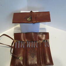 BROWN LEATHER LIKE PEN POUCH HOLDER/POUCH/ CASE-HOLDS 10-12 PENS- USA SELLER-