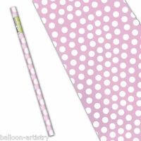 """5ft x 30"""" LOVELY PINK White Polka Dot Spot Style Party Gift Wrapping Paper Roll"""