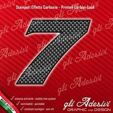 Adesivo Stickers NUMERO 7 moto auto cross gara Carbon Effect Back 10 cm