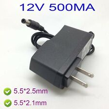 US AC 100-240V  Adapter DC 12V 500mA 0.5A Power Supply  charger 5.5 x 2.5MM