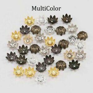 100pcs 8/10 mm Metal Lotus Flower Loose Spacer Beads Cap For DIY Jewelry Making