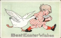 Easter - Goose Chasing Little Girl c1910 Postcard