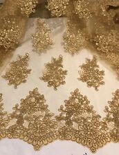 "GOLD CORED EMBROIDERY SEQUINS MESH LACE FABRIC 52"" WIDE 1 YARD"
