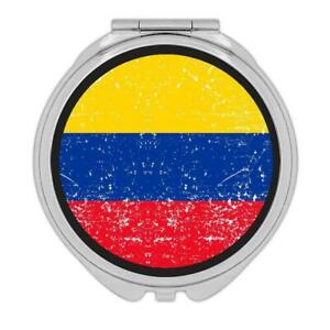 Gift Compact Mirror : Colombia Flag Retro Artistic Colombian Expat Country