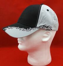 Mens Baseball Ball Hat Gray Black Barbed Wire Tribal Biker Curved Brim Cap