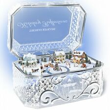 Thomas Kinkade Winter Christmas Crystal Music Box Village Holiday Decor